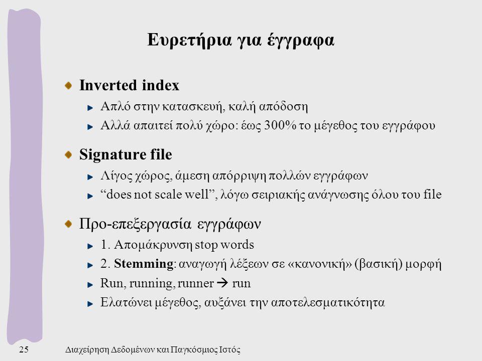 Ευρετήρια για έγγραφα Inverted index Signature file