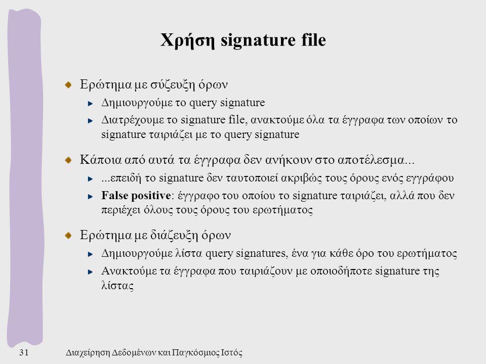 Χρήση signature file Ερώτημα με σύζευξη όρων