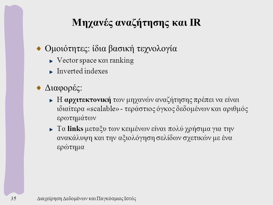 Μηχανές αναζήτησης και IR