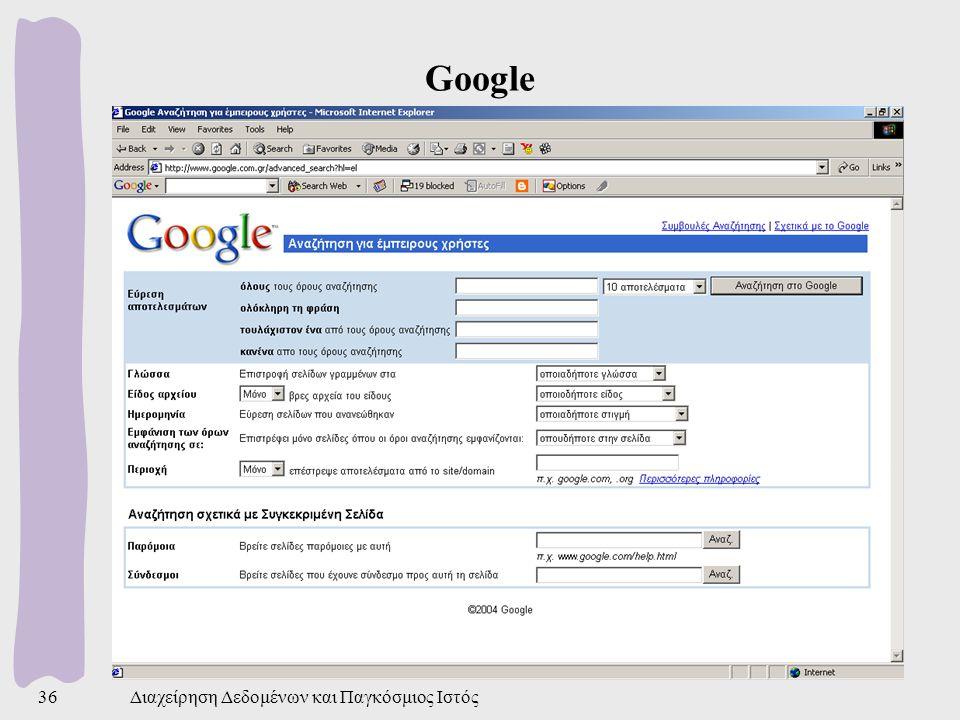 Google Διαχείρηση Δεδομένων και Παγκόσμιος Ιστός
