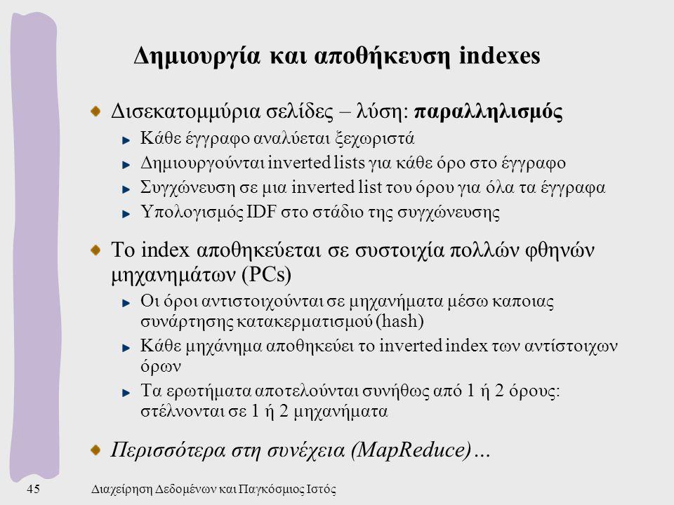 Δημιουργία και αποθήκευση indexes