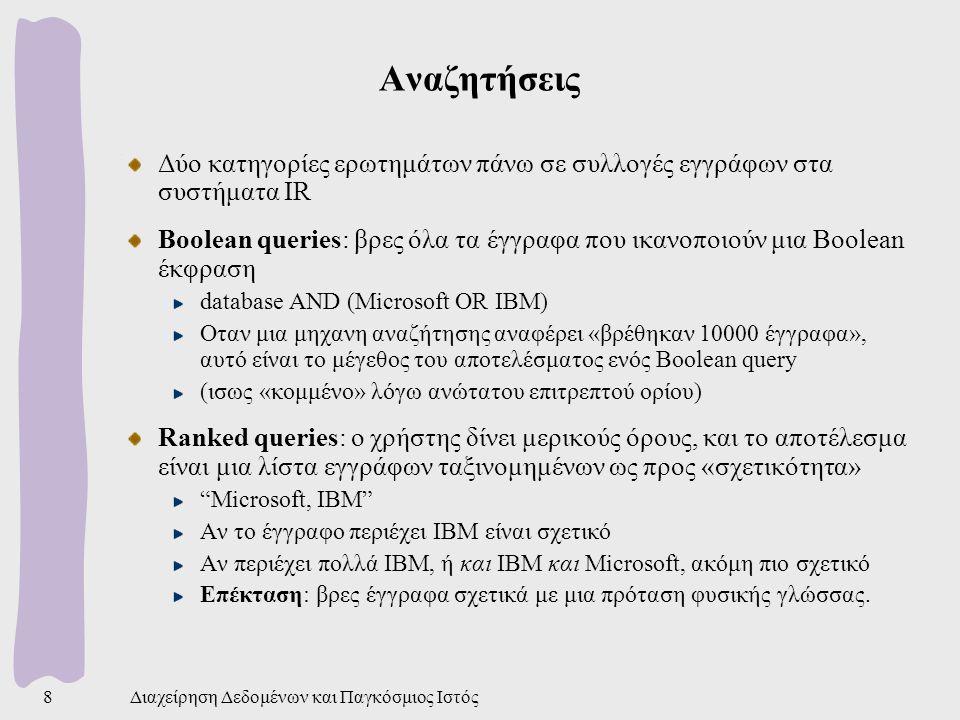 Αναζητήσεις Δύο κατηγορίες ερωτημάτων πάνω σε συλλογές εγγράφων στα συστήματα IR.