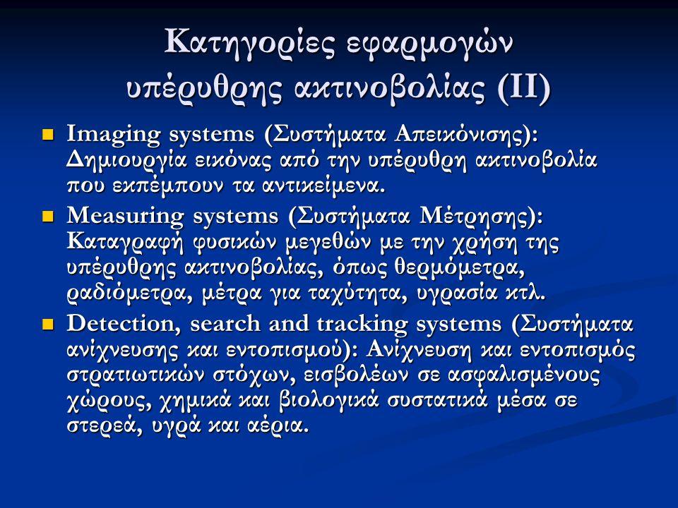 Κατηγορίες εφαρμογών υπέρυθρης ακτινοβολίας (ΙΙ)