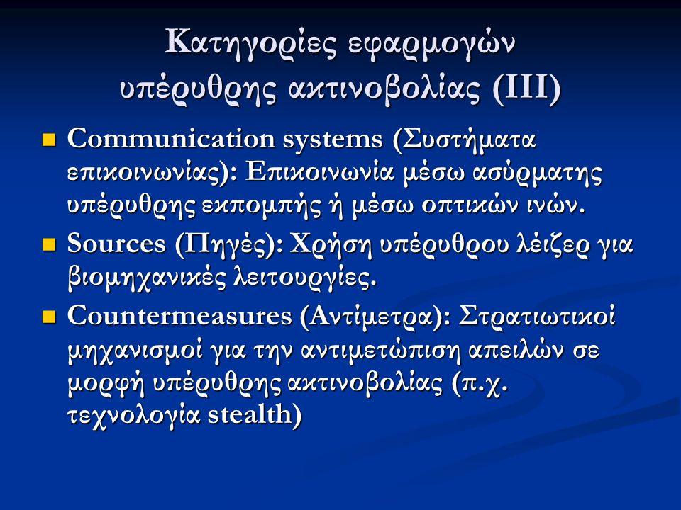 Κατηγορίες εφαρμογών υπέρυθρης ακτινοβολίας (ΙΙΙ)