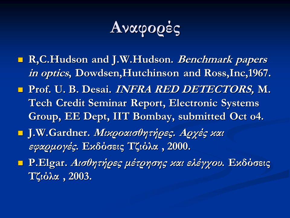 Αναφορές R,C.Hudson and J.W.Hudson. Benchmark papers in optics, Dowdsen,Hutchinson and Ross,Inc,1967.
