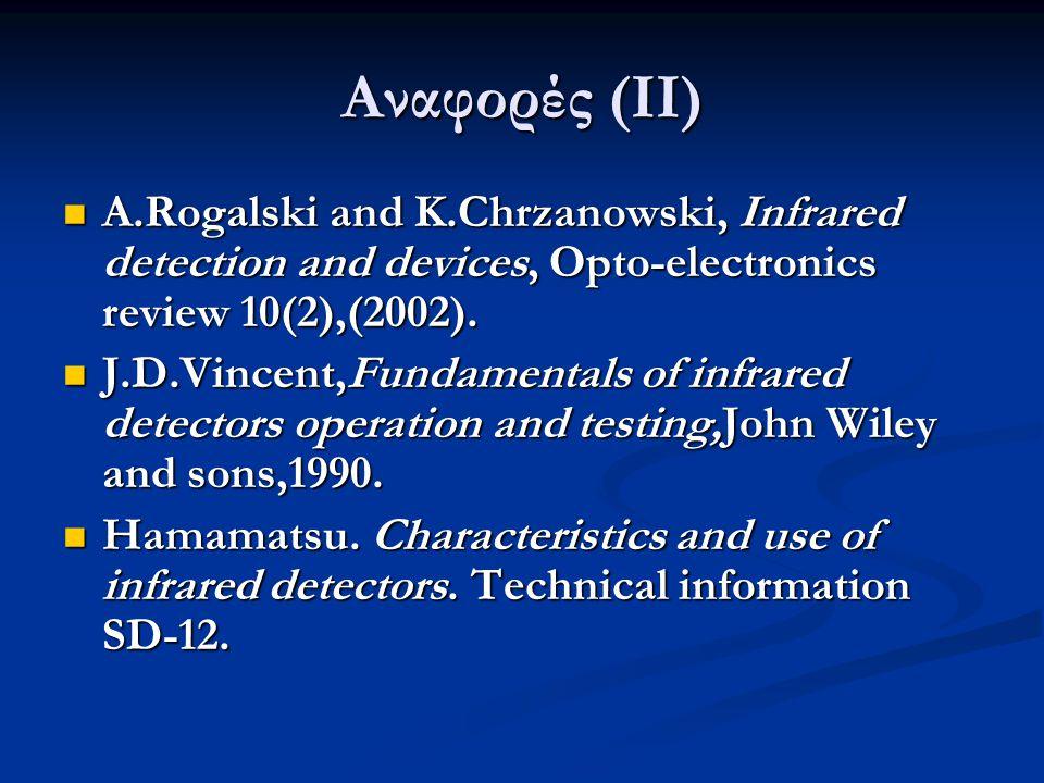 Αναφορές (ΙΙ) A.Rogalski and K.Chrzanowski, Infrared detection and devices, Opto-electronics review 10(2),(2002).