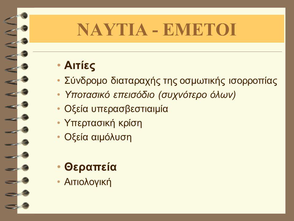 ΝΑΥΤΙΑ - ΕΜΕΤΟΙ Αιτίες Θεραπεία