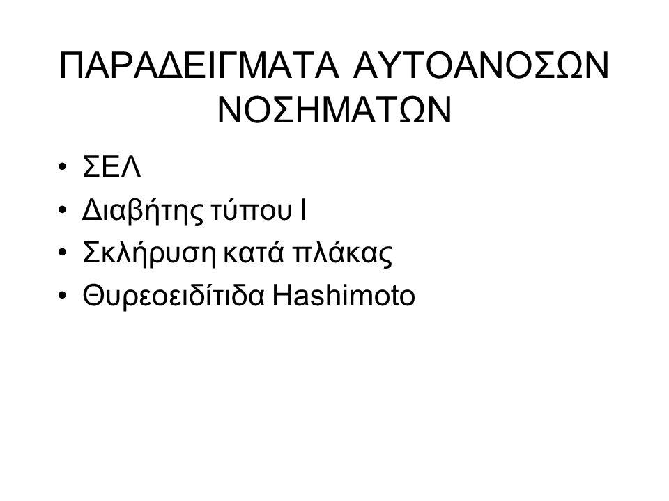 ΠΑΡΑΔΕΙΓΜΑΤΑ ΑΥΤΟΑΝΟΣΩΝ ΝΟΣΗΜΑΤΩΝ