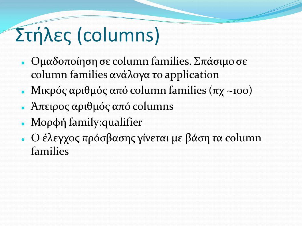 Στήλες (columns) Ομαδοποίηση σε column families. Σπάσιμο σε column families ανάλογα το application.