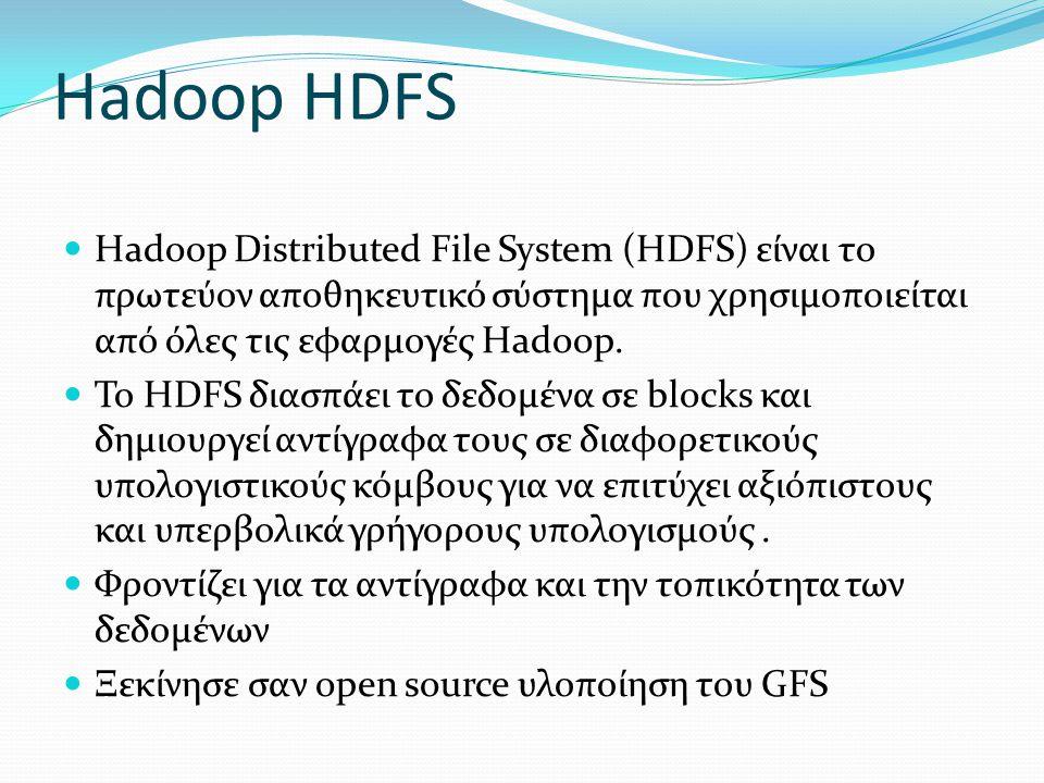 Hadoop HDFS Hadoop Distributed File System (HDFS) είναι το πρωτεύον αποθηκευτικό σύστημα που χρησιμοποιείται από όλες τις εφαρμογές Hadoop.
