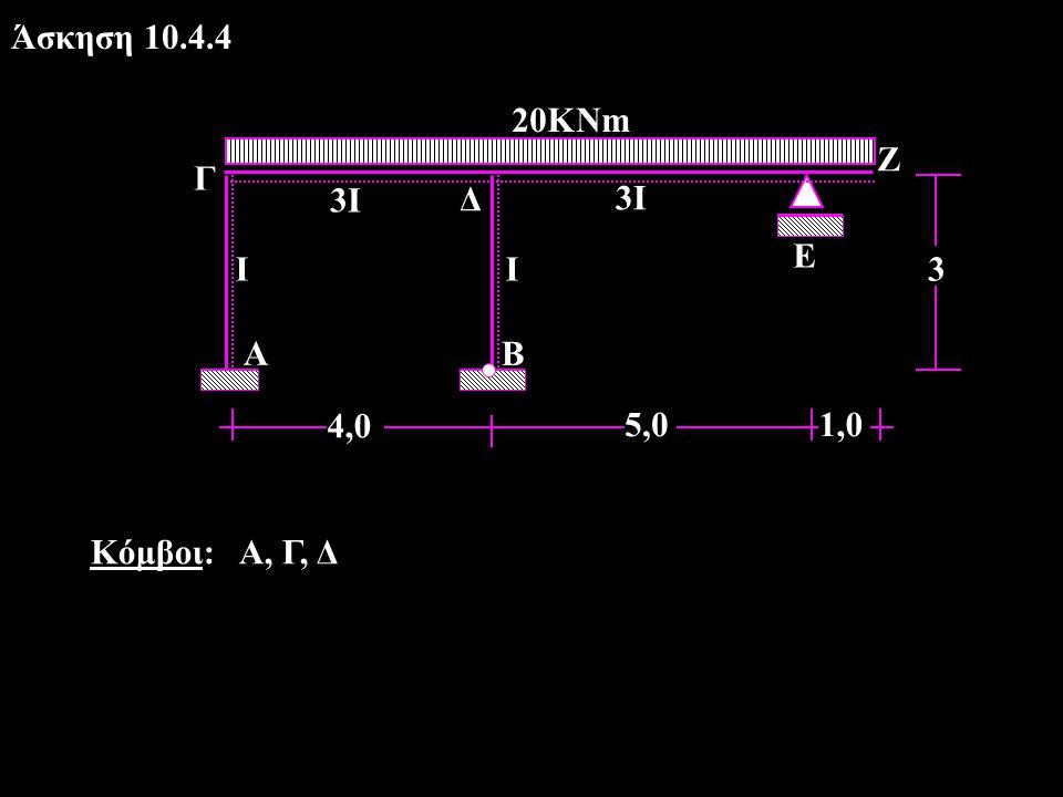 Άσκηση 10.4.4 3 5,0 4,0 Γ 20ΚΝm Ζ Ι 3Ι Ε Α Β Δ 1,0 Κόμβοι: Α, Γ, Δ