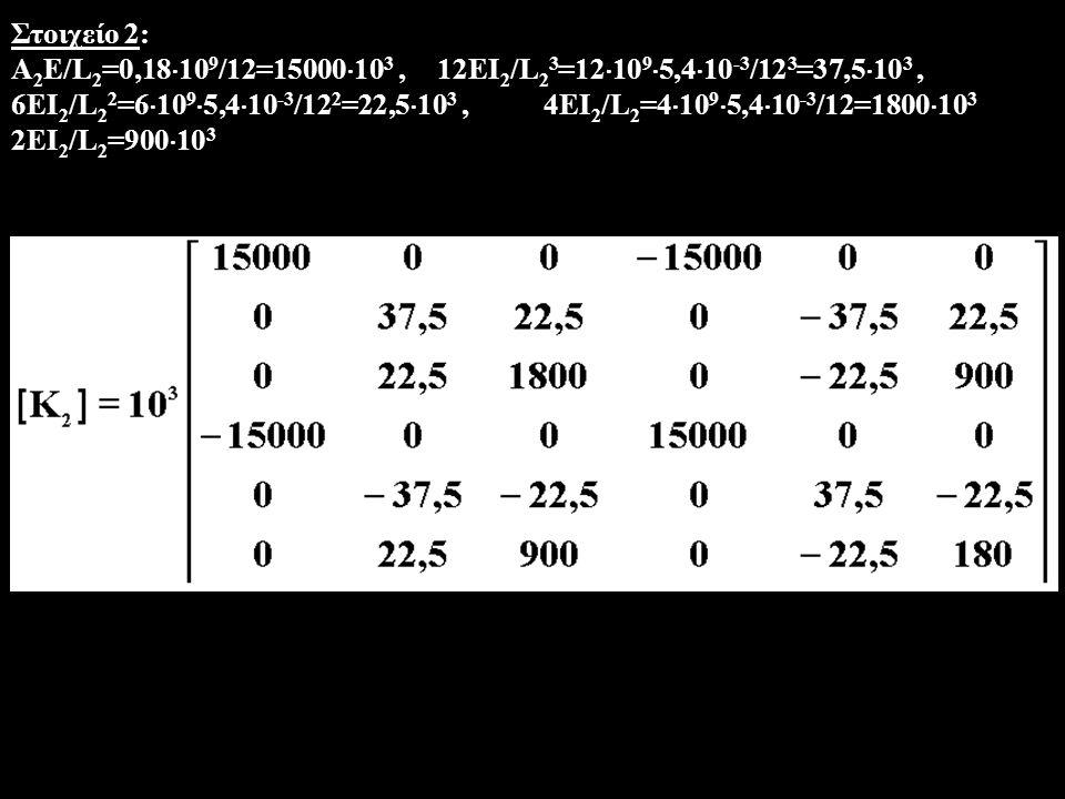 Στοιχείο 2: Α2Ε/L2=0,18109/12=15000103 , 12ΕI2/L23=121095,410-3/123=37,5103 ,