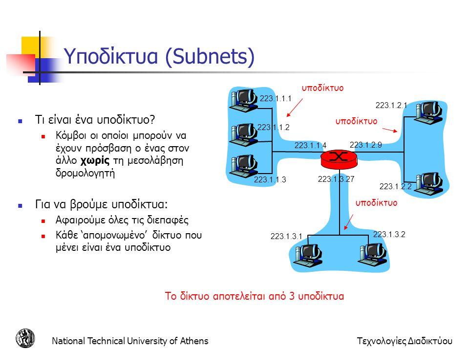 Υποδίκτυα (Subnets) Τι είναι ένα υποδίκτυο Για να βρούμε υποδίκτυα: