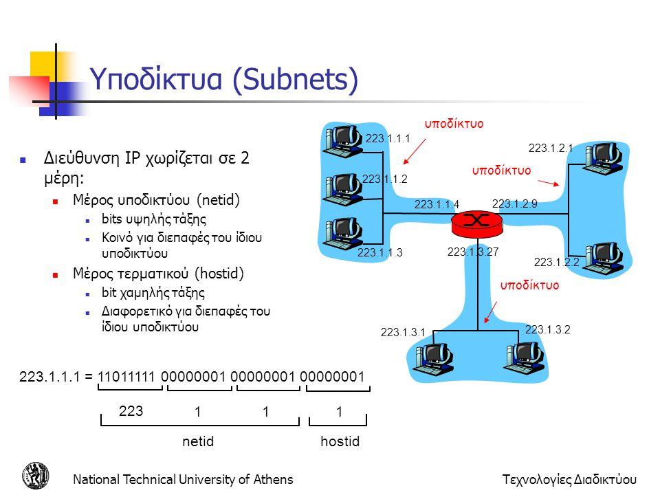 Υποδίκτυα (Subnets) Διεύθυνση IP χωρίζεται σε 2 μέρη: