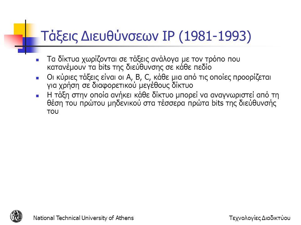 Τάξεις Διευθύνσεων IP (1981-1993)
