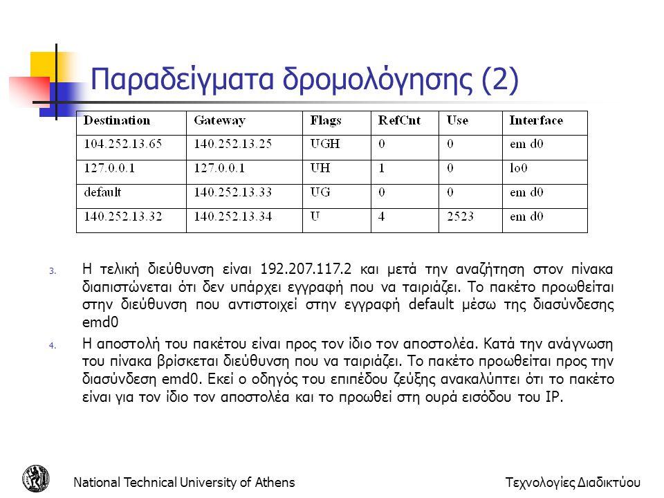 Παραδείγματα δρομολόγησης (2)