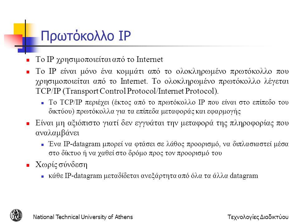 Πρωτόκολλο IP Το IP χρησιμοποιείται από το Internet
