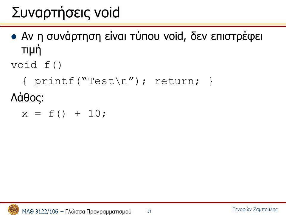 Συναρτήσεις void Αν η συνάρτηση είναι τύπου void, δεν επιστρέφει τιμή