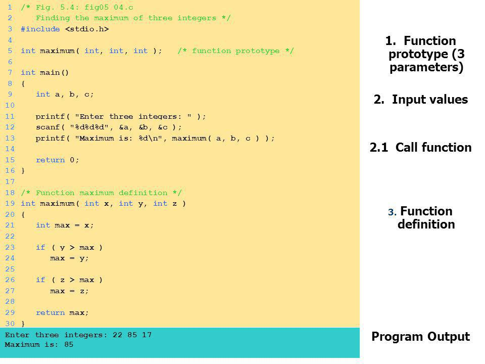 1. Function prototype (3 parameters)