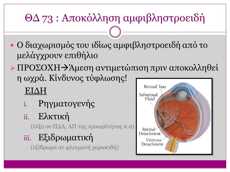 ΘΔ 73 : Αποκόλληση αμφιβληστροειδή