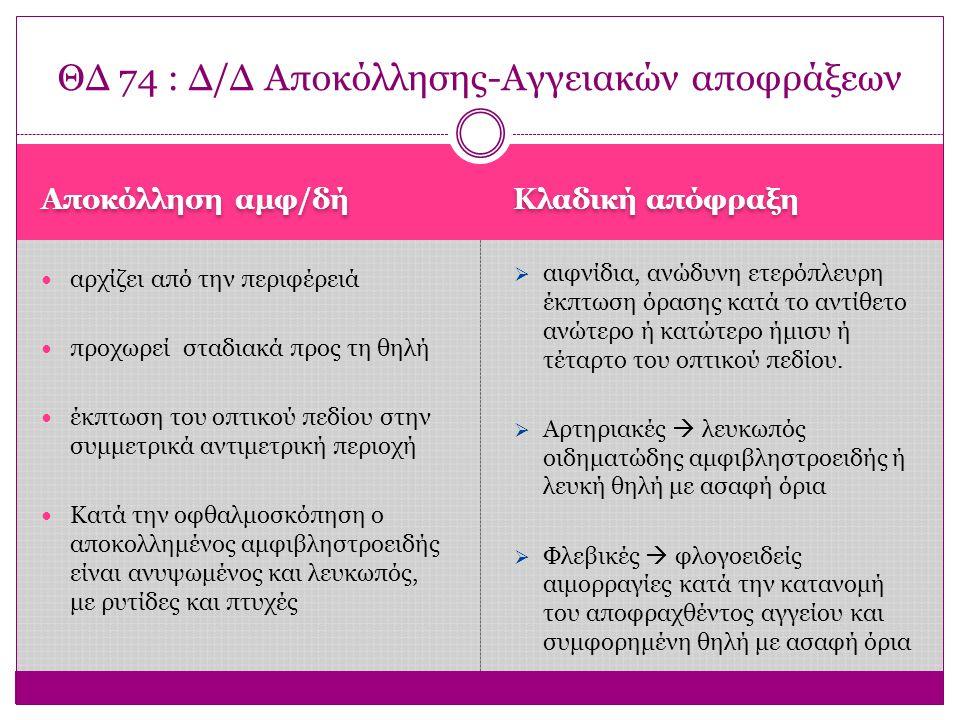 ΘΔ 74 : Δ/Δ Αποκόλλησης-Αγγειακών αποφράξεων