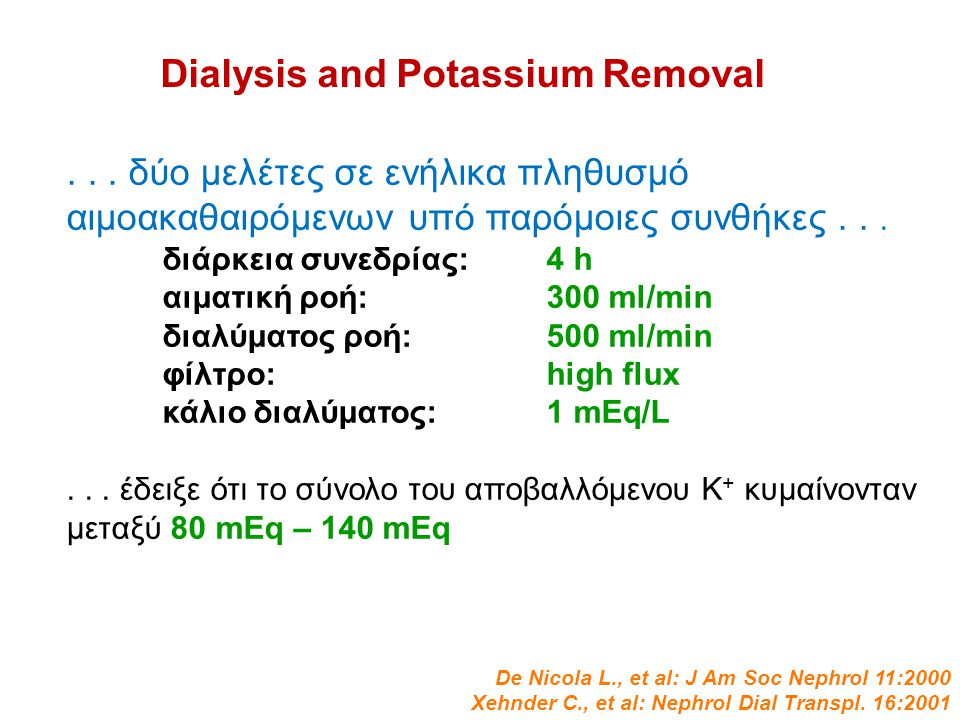 Dialysis and Potassium Removal