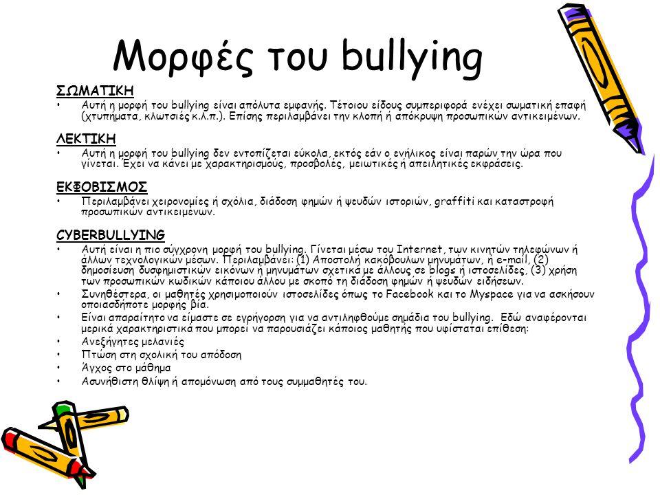 Μορφές του bullying ΣΩΜΑΤΙΚΗ ΛΕΚΤΙΚΗ ΕΚΦΟΒΙΣΜΟΣ CYBERBULLYING