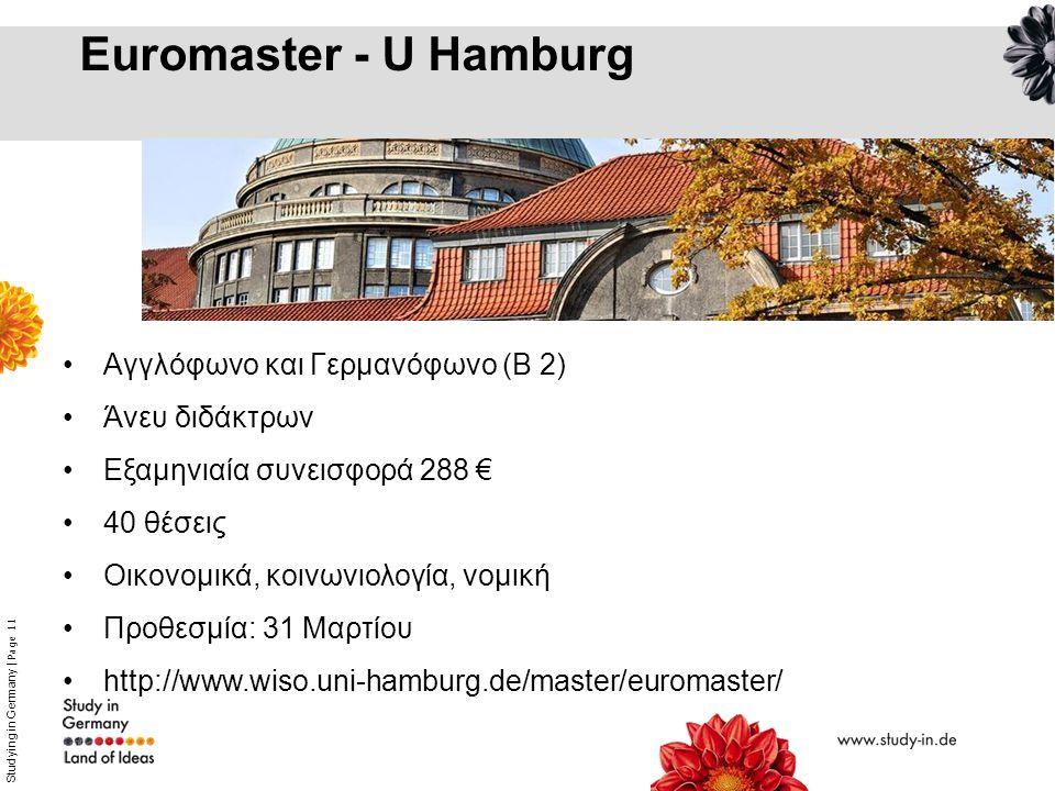 Euromaster - U Hamburg Αγγλόφωνο και Γερμανόφωνο (Β 2) Άνευ διδάκτρων