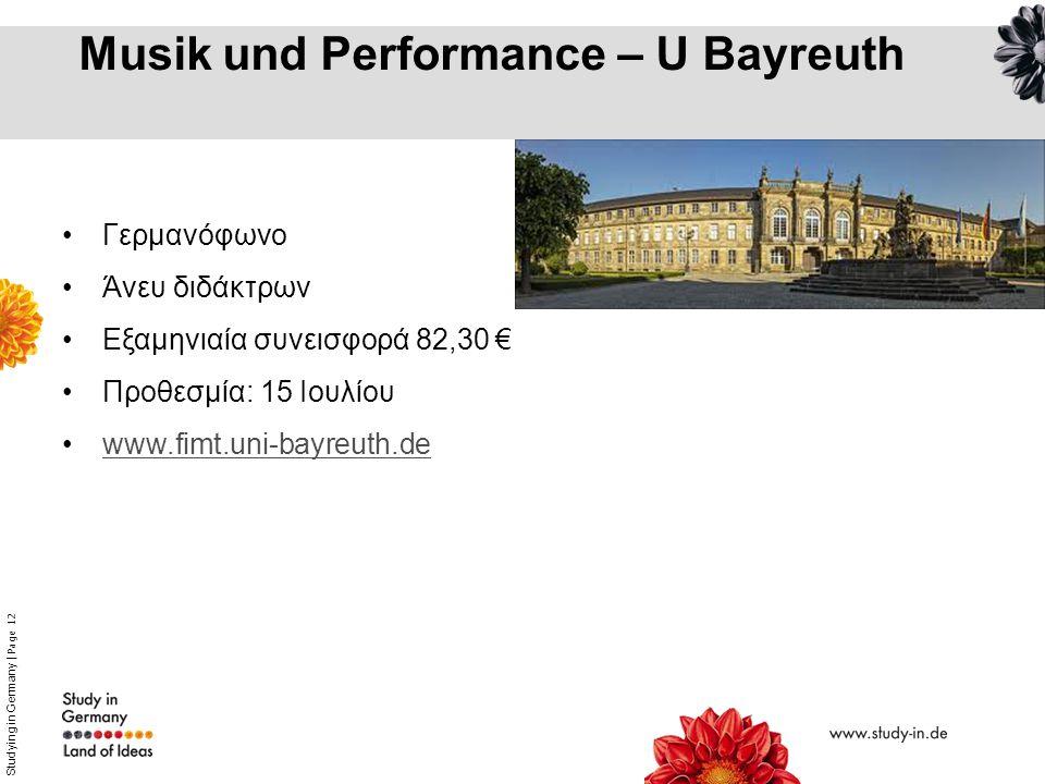 Musik und Performance – U Bayreuth