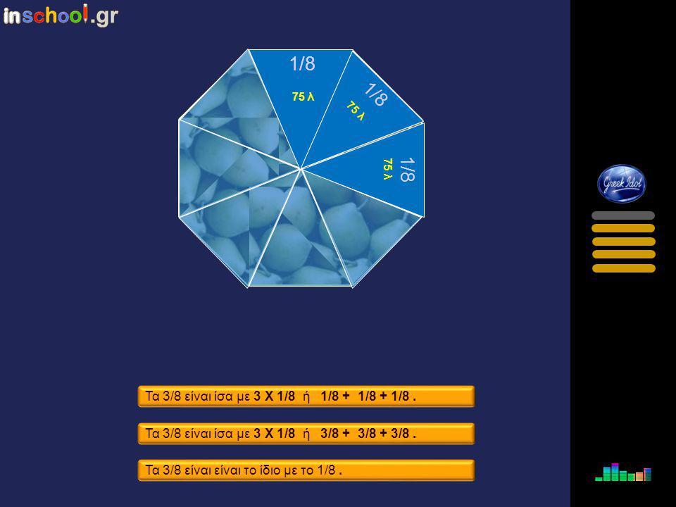 1/8 1/8 1/8 Τα 3/8 είναι ίσα με 3 Χ 1/8 ή 1/8 + 1/8 + 1/8 .