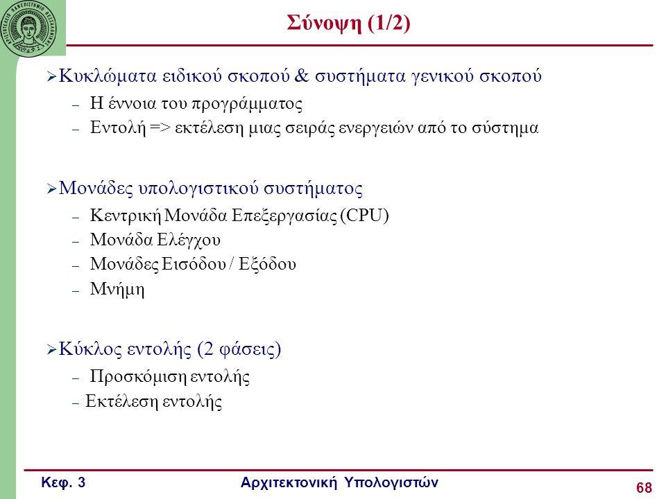 Σύνοψη (1/2) Κυκλώματα ειδικού σκοπού & συστήματα γενικού σκοπού