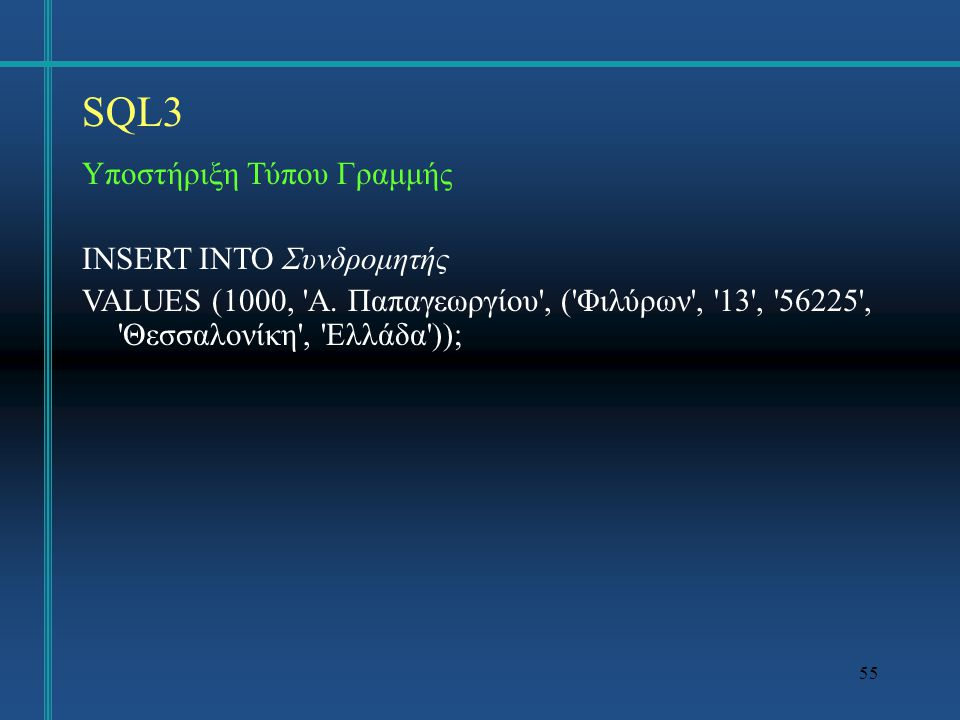SQL3 Υποστήριξη Τύπου Γραμμής INSERT INTO Συνδρομητής