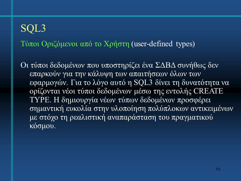 SQL3 Τύποι Οριζόμενοι από το Χρήστη (user-defined types)
