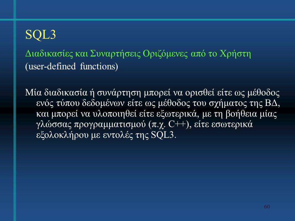 SQL3 Διαδικασίες και Συναρτήσεις Οριζόμενες από το Χρήστη