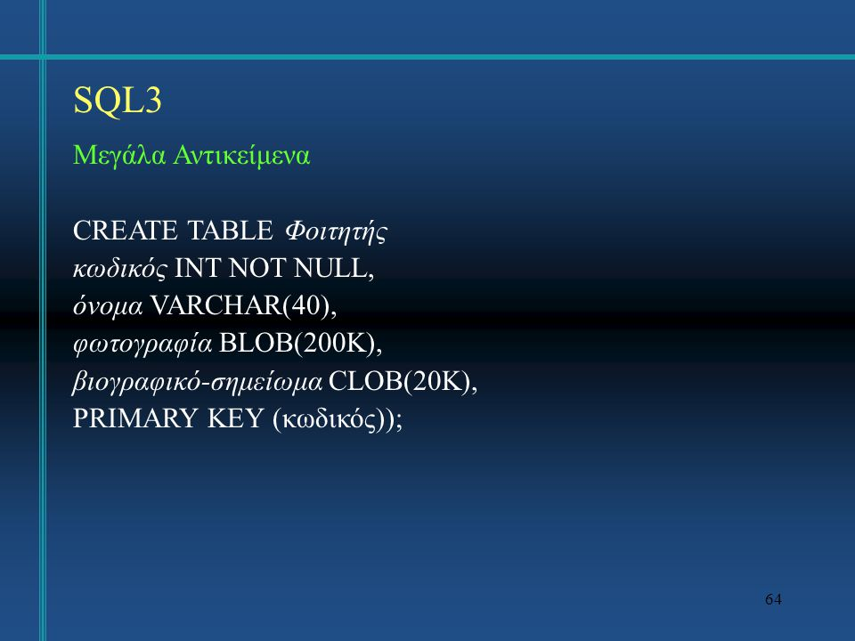 SQL3 Μεγάλα Αντικείμενα CREATE TABLE Φοιτητής κωδικός INT NOT NULL,