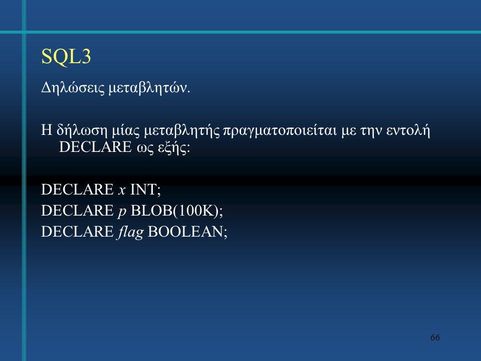 SQL3 Δηλώσεις μεταβλητών.