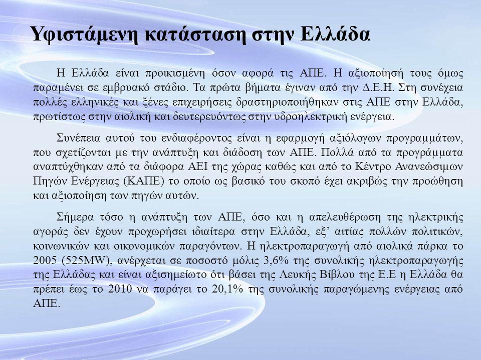 Υφιστάμενη κατάσταση στην Ελλάδα