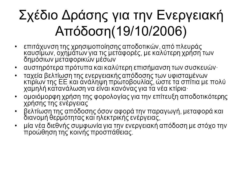 Σχέδιο Δράσης για την Ενεργειακή Απόδοση(19/10/2006)