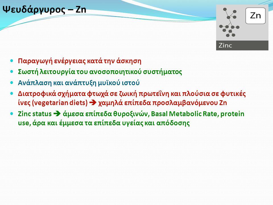 Ψευδάργυρος – Zn Παραγωγή ενέργειας κατά την άσκηση