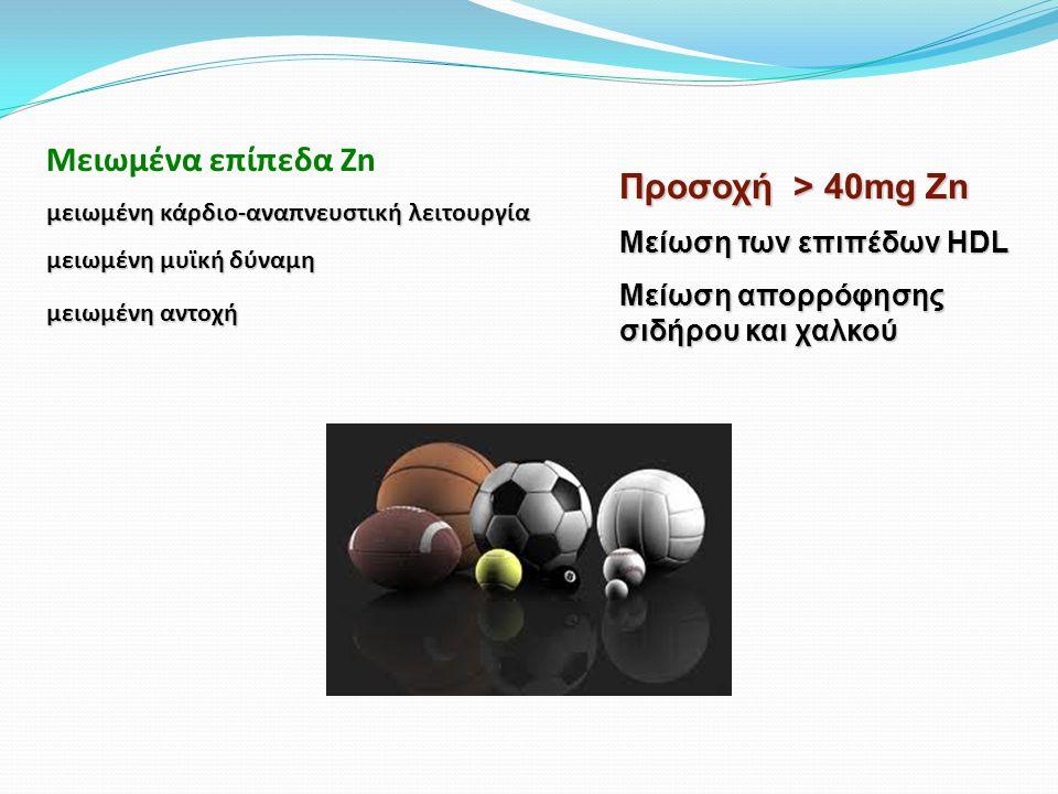 Μειωμένα επίπεδα Zn Προσοχή > 40mg Zn Μείωση των επιπέδων HDL