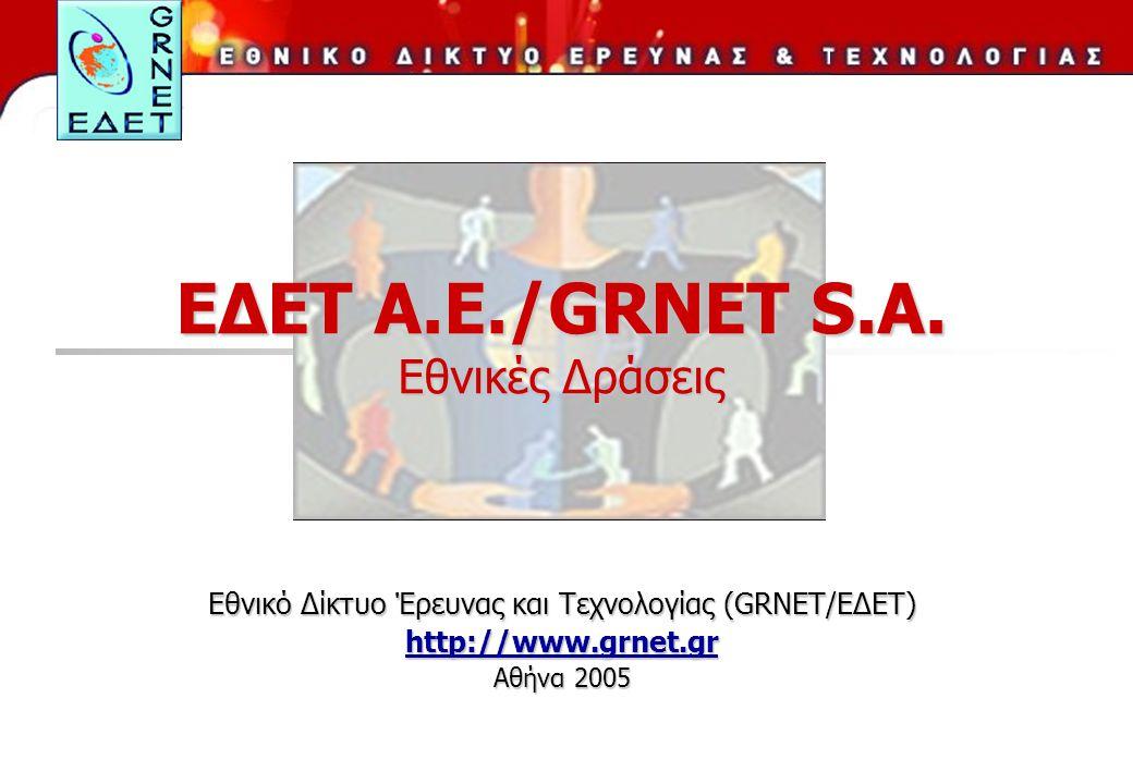 ΕΔΕΤ Α.Ε./GRNET S.A. Εθνικές Δράσεις