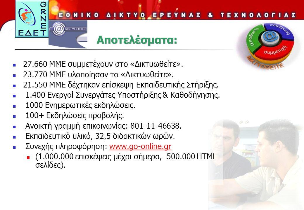 Αποτελέσματα: 27.660 ΜΜΕ συμμετέχουν στο «Δικτυωθείτε».
