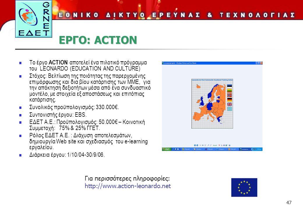 ΕΡΓΟ: ACTION Το έργο ACTION αποτελεί ένα πιλοτικό πρόγραμμα του LEONARDO (EDUCATION AND CULTURE)