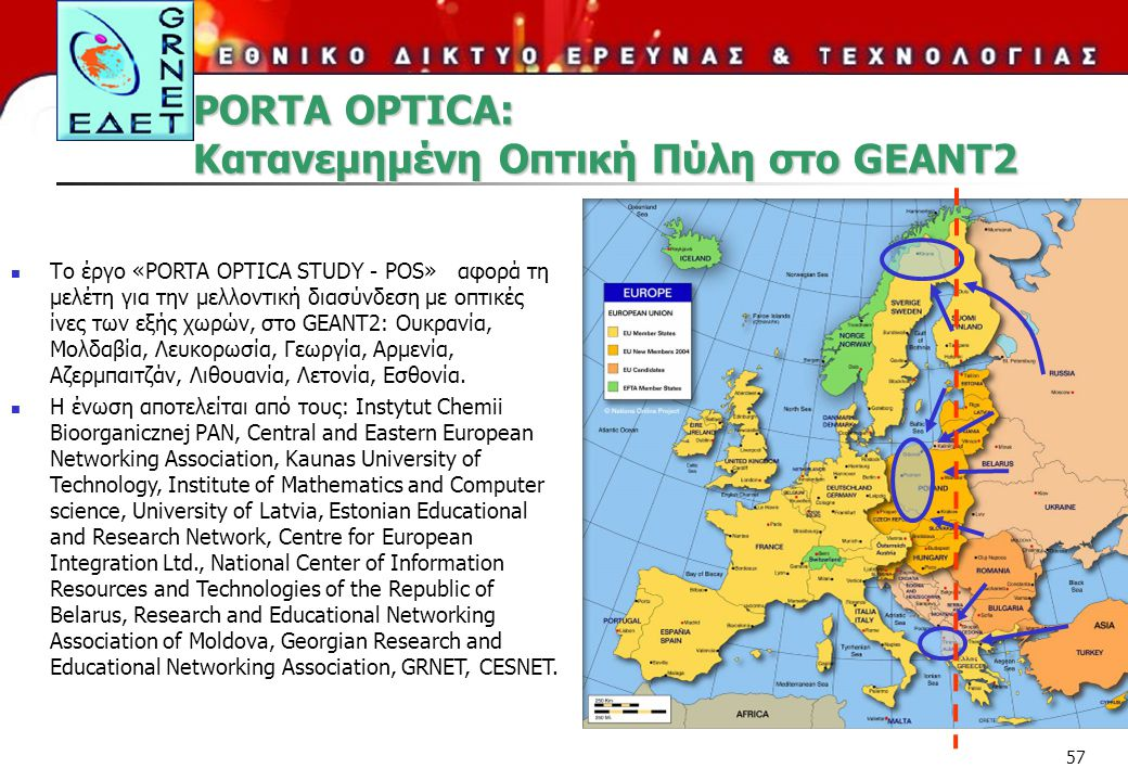 PORTA OPTICA: Κατανεμημένη Οπτική Πύλη στο GEANT2