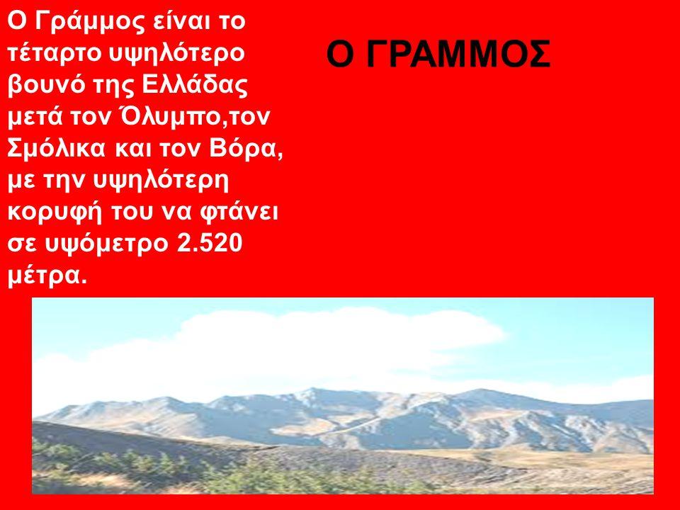 Ο Γράμμος είναι το τέταρτο υψηλότερο βουνό της Ελλάδας μετά τον Όλυμπο,τον Σμόλικα και τον Βόρα, με την υψηλότερη κορυφή του να φτάνει σε υψόμετρο 2.520 μέτρα.