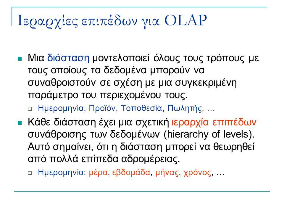 Ιεραρχίες επιπέδων για OLAP