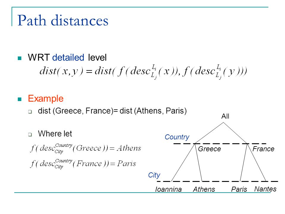 Path distances WRT detailed level Example