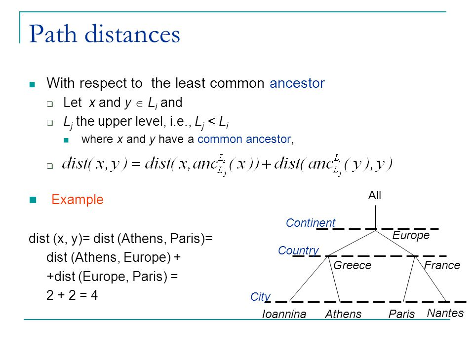 Path distances Example With respect to the least common ancestor