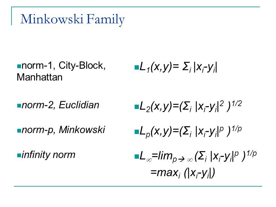 Minkowski Family L1(x,y)= Σi |xi-yi| L2(x,y)=(Σi |xi-yi|2 )1/2