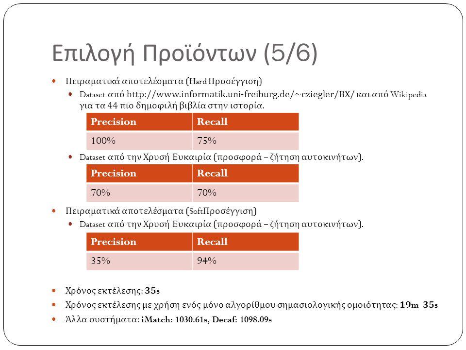 Επιλογή Προϊόντων (5/6) Precision Recall 100% 75% Precision Recall 70%